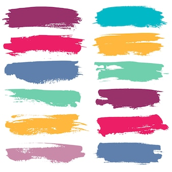 Color grunge brushes watercolor paint linear strokes for highlighting