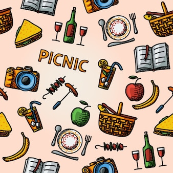 Color hand drawn picnic pattern - basket, plate with spoon, sandwich, photo camera, wine, glass with cocktail, apple and banana, bbq, book.
