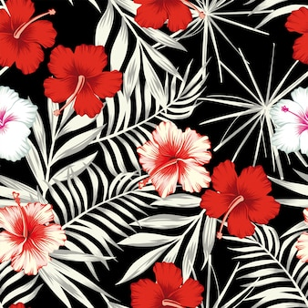 Color hibiscus on the black white leaves seamless pattern wallpaper
