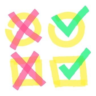 カラーハイライトマーカーのチェックマーク。丸と四角のボックスに緑のダニと赤の十字を落書きします。黄色のボックスの孤立したベクトル図で明るい正しいと間違ったサインを手描き