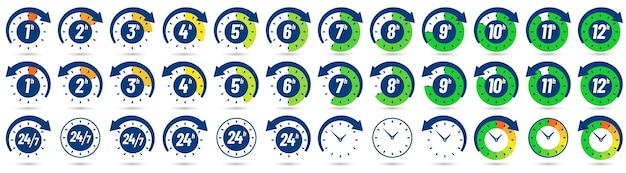 Color hours icon. timer from 1 to 12 hours. clock, 24 7 and 24h available   icons set.