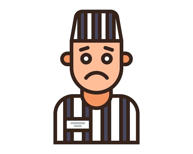 Color icon of a prisoner in a striped uniform. flat character vector illustration.