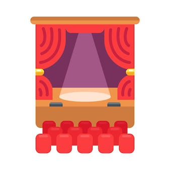 Color icon of the theater. the curtain and spotlight shines on the stage.  illustration.