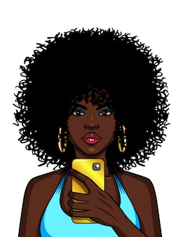 Color  illustration of an african american woman doing selfie. a fashionable girl is taking pictures of herself on the phone.