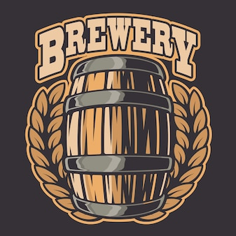 Color  illustration of a beer barrel. all elements of the illustration and text are in separate groups.