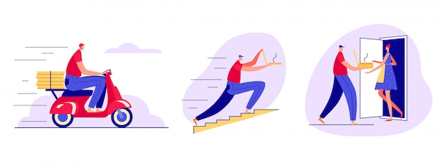 Color   illustration in a flat style. fast pizza delivery by courier. the courier carries pizza on a scooter, runs up the stairs, rings the doorbell.
