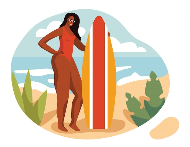 フラットスタイルのカラーイラスト。ビーチで水着で美しい少女。砂の上にサーフボードを持つ少女が立っています。休暇中にほっそりした日焼けした女性。休暇の風景