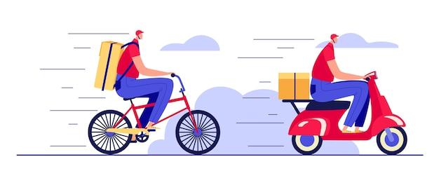 흰색 배경에 고립 된 평면 스타일에 컬러 일러스트. 택배로 패스트 푸드 배달. 스쿠터와 자전거에 음식 배달 남자의 집합입니다.