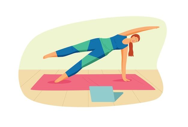白い背景で隔離のフラットスタイルのカラーイラスト。ヨガスタジオのテンプレート。女の子はマットの上でヨガを練習します。オンラインで自宅で運動する若い女性