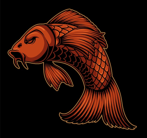 Color illustration of a koi carp on the dark background. can be used as an element in the design or as a finished illustration.