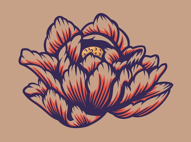 Color illustration of a lotus flower on a light background. vector