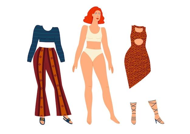 紙人形のカラーイラスト。白い背景で隔離の女の子のためのワードローブの服。服のコレクションを持つかわいい女の子。紙で切った衣装の人形。