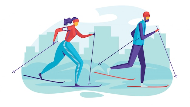 Color  illustration people in the park are skiing. flat style poster of seasonal family vacation.