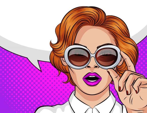 Color  illustration in pop art style. a girl with red hair wearing sun glasses.