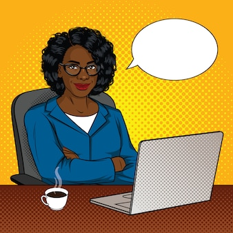 Color illustration of successful african american businessmen in office room. happy beautiful lady with arms crossed sitting in a chair in front of a laptop.
