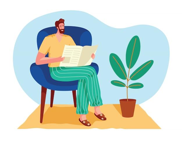 カラーは、フラットスタイルのイラストを分離しました。男が家で新聞を読みます。男が肘掛け椅子に座ってニュースを読む。インテリアの男