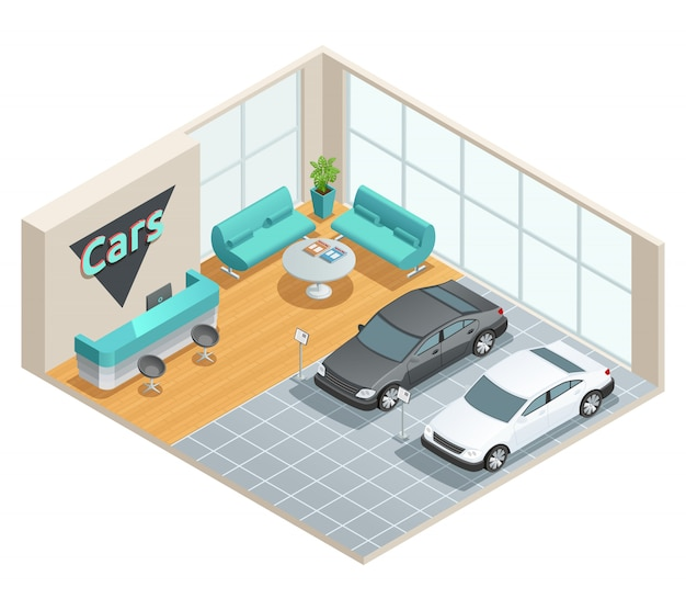 Color isometric design of cars hall with reception