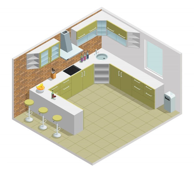 Color isometric design of kitchen with table cupboard