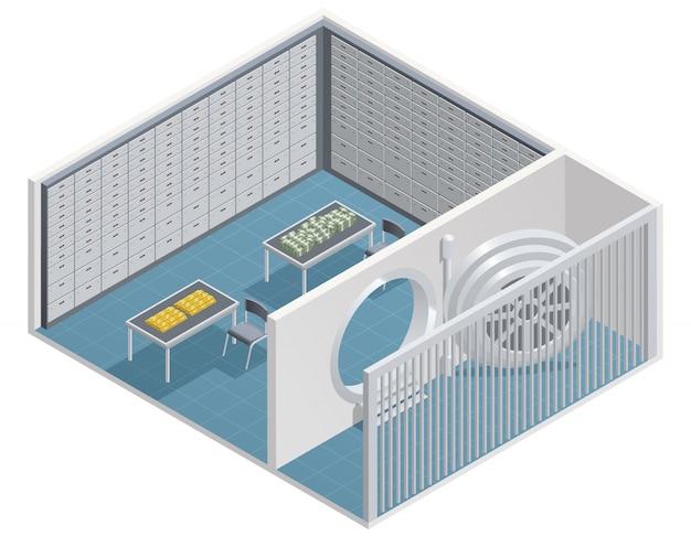 Colori la progettazione isometrica della stanza d'acciaio nell'illustrazione di vettore della banca