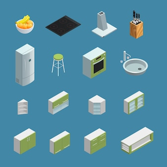 Color isometric icons depicting elements of kitchen interior with blue background