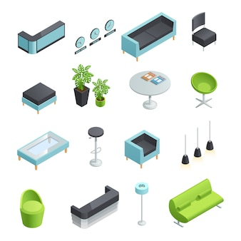 Color isometric icons of interior elements of hall foyer
