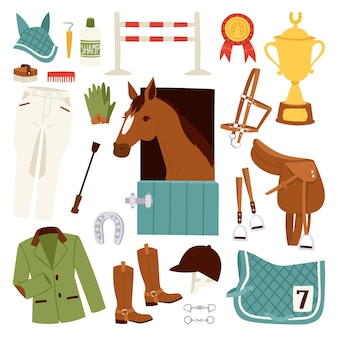 Color jockey icons set with equipment for horse riding  and horseshoe saddle sport race equestrian stallion barrier