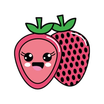 Color kawaii scared strawberry icon