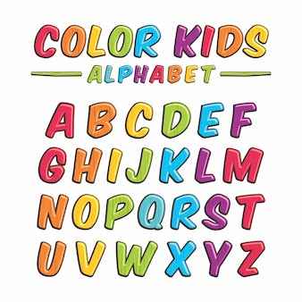 Color kids alphabet wooden typography