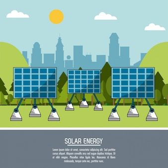 Color landscape background solar energy panels