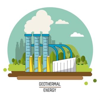 컬러 풍경 이미지 지열 에너지 생산 공장