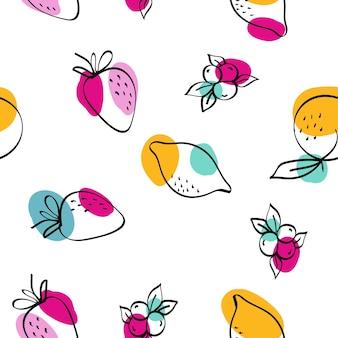 カラーレモンとイチゴのベクトル白のシームレスなパターン。愛らしいリンゴと桃のイラスト。緑とフクシアの柑橘類とブルーベリーの漫画の壁紙。