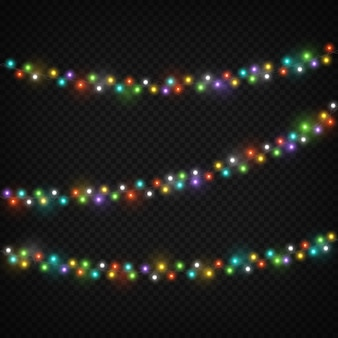 Color light garlands. christmas lights holiday decoration with colourful light bulb. realistic lighting string vector set isolated