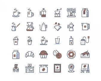 カラーラインのコーヒーショップのアイコン