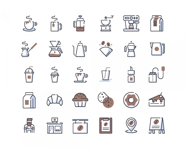 Color-line coffee shop icons