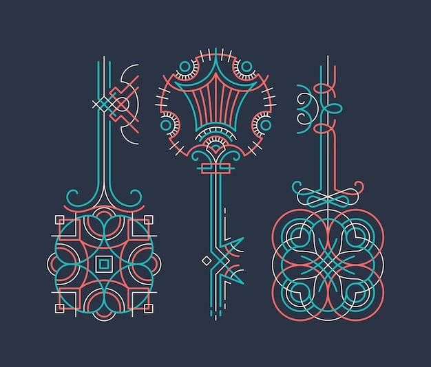 컬러 라인 장식용 키 세트, 디자인 요소.