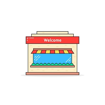 Color linear shop building icon. concept of marketing, shopfront, awning, town construction silhouette, exterior, merchandise. flat style trend modern logo graphic design on white background