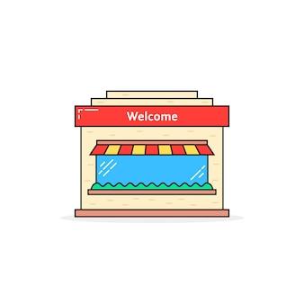 カラー線形ショップビルアイコン。マーケティング、店頭、日よけ、町の建設のシルエット、エクステリア、商品のコンセプト。白い背景の上のフラットスタイルのトレンドモダンなロゴのグラフィックデザイン