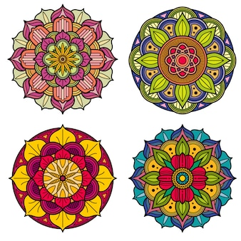 Color mandalas indian and chinese floral vector patterns