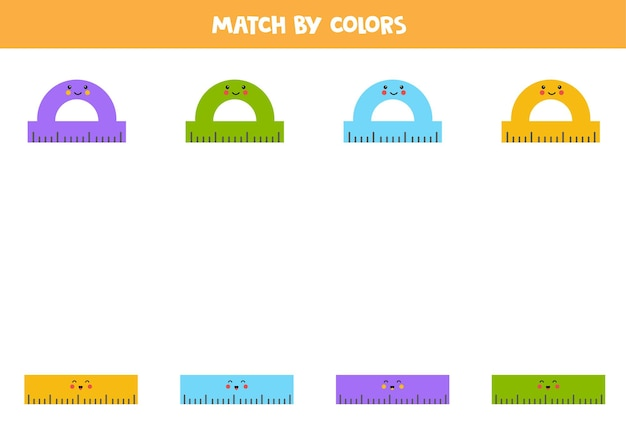 Color matching game for preschool kids. match rulers by colors.