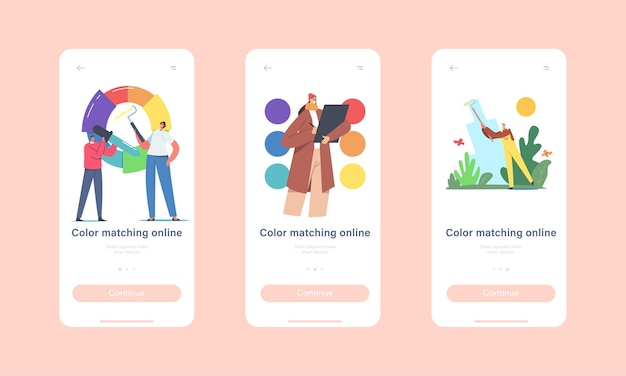 Color matching mobile app page onboard screen template. professional designer characters working with palette wheel choose tints for design painting project concept. cartoon people vector illustration