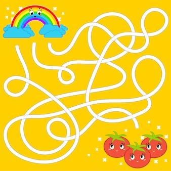 Рабочий лист цветного лабиринта для детей
