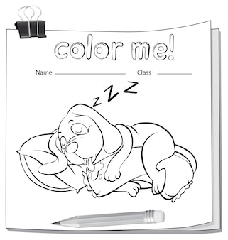 A color me worksheet with a sleeping dog
