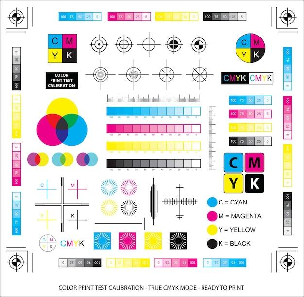 混色スキームまたはカラープリントテストキャリブレーションコンセプトepsベクトル