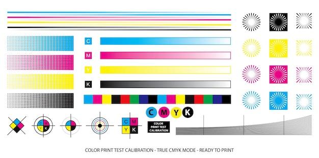 Схема смешивания цветов или цветная печать тестовая концепция калибровки eps вектор