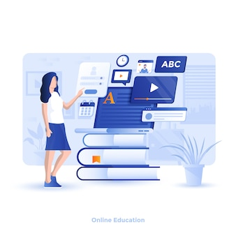 Color modern illustration  - online education