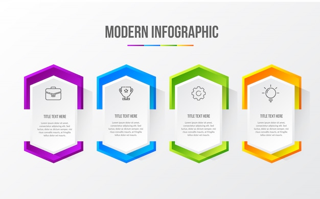 Color modern infographic with 3d table
