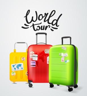 Цветные современные пластиковые чемоданы с надписью логотипом