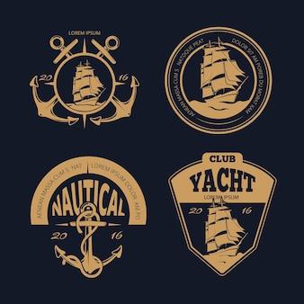 色の航海ラベルとバッジ。マリンヴィンテージ航海船ロゴセット