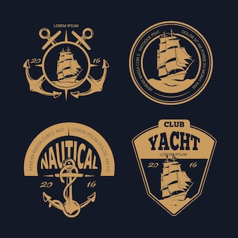 Color nautical labels and badges. marine vintage nautical ship logo set