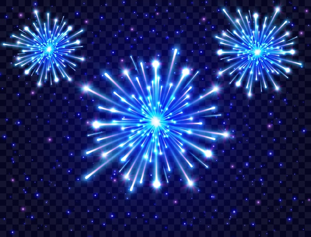 Color neon fireworks in the night sky. bright fireworks. new year design. blue star burst.
